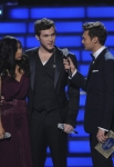 AMERICAN IDOL: Ryan Seacrest prepares Finalists Jessica Sanchez and Phillip Phillips for the results of the competition during the season 11 AMERICAN IDOL GRAND FINALE at the Nokia Theatre on Weds. May 23, 2012 in Los Angeles, California.  CR: Michael Becker/FOX