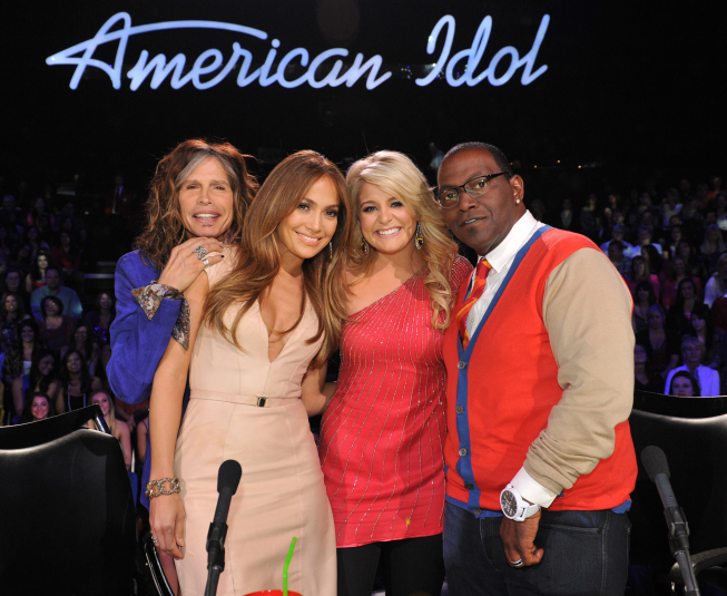 AMERICAN IDOL: Season 10 runner-up Lauren Alaina with the judges on AMERICAN IDOL airing Thursday, March 8 (8:00-9:00 PM ET/PT) on FOX. CR: Michael Becker / FOX. L-R: Steven Tyler, Jennifer Lopez, Lauren Alaina and Randy Jackson. CR: Michael Becker / FOX.