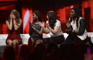 AMERICAN IDOL: Angie Miller advances to the final 3 on AMERICAN IDOL Thursday, May 2 (8:00-9:00 PM ET/PT) on FOX. Pictured L-R: Angie Miller, Amber Holcomb, Kree Harrison and Candice Glover. CR: Frank Micelotta / FOX. Copyright: FOX.