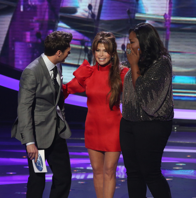 AMERICAN IDOL: Paula Abdul (C) surprises Candice Glover (R) and Ryan Seacrest (L) on AMERICAN IDOL Thursday, April 18 (8:00-9:00 PM ET/PT) on FOX. CR: Michael Yarish/ FOX. Copyright: FOX.