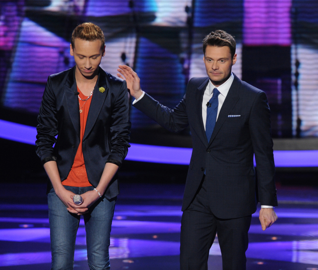 AMERICAN IDOL: Devin Velez (L) is eliminated on AMERICAN IDOL airing Thursday, March 28 (8:00-9:00 PM ET/PT) on FOX. Also pictured: Ryan Seacrest (R). CR: Michael Becker / FOX. Copyright: FOX.