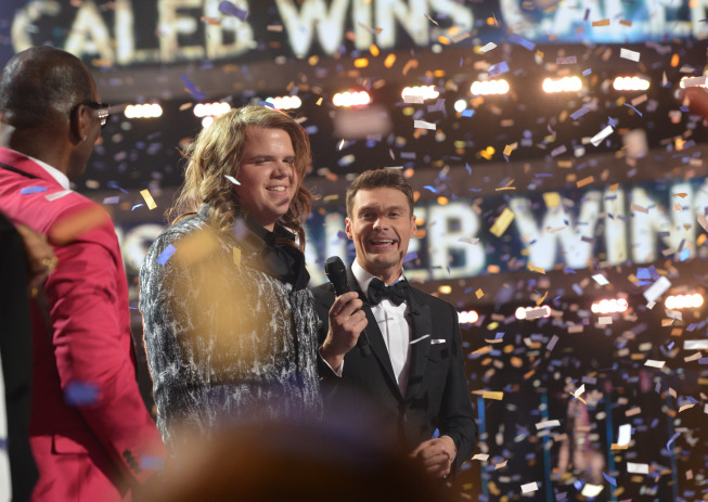 AMERICAN IDOL XIII: Caleb Johnson (C) is crowned the AMERICAN IDOL at the NOKIA THEATRE L.A. LIVE on Wednesday, May 21 (8:00-10:00 PM ET/PT) on FOX. CR: Michael Becker/FOX.