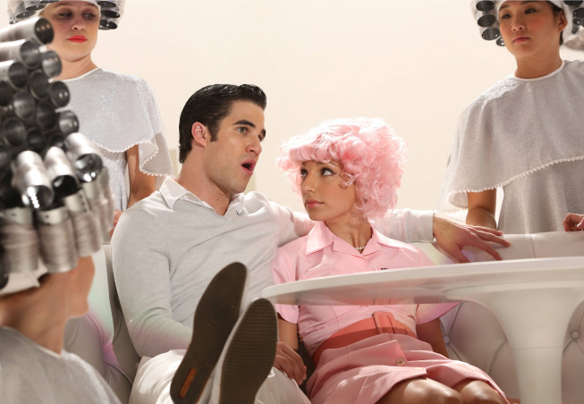 "GLEE: Blaine (Darren Criss, L) and Sugar (Vanessa Lengies, R) perform in the ""Glease"" episode of GLEE airing Thursday, Nov. 15 (9:00-10:00 PM ET/PT) on FOX. ©2012 Fox Broadcasting Co. CR: Mike Yarish/FOX"
