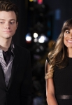 "GLEE: Kurt (Chris Colfer, L) and Rachel (Lea Michele, R) watch a show in the ""Glease"" episode of GLEE airing Thursday, Nov. 15 (9:00-10:00 PM ET/PT) on FOX. ©2012 Fox Broadcasting Co. CR: Adam Rose/FOX"