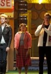 "GLEE: New Directions perform in the ""Glease"" episode of GLEE airing Thursday, Nov. 15 (9:00-10:00 PM ET/PT) on FOX. Pictured L-R: Becca Tobin, Chord Overstreet, Jenna Ushkowitz, Blake Jenner and Melissa Benoist. ©2012 Fox Broadcasting Co. CR: Adam Rose/FOX"