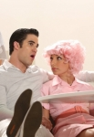 """GLEE: Blaine (Darren Criss, L) and Sugar (Vanessa Lengies, R) perform in the """"Glease"""" episode of GLEE airing Thursday, Nov. 15 (9:00-10:00 PM ET/PT) on FOX. ©2012 Fox Broadcasting Co. CR: Mike Yarish/FOX"""