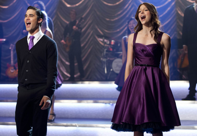 """GLEE: Blaine (Darren Criss, L) and Marley (Melissa Benoist, R) perform at Regionals in the """"All Or Nothing"""" season finale episode of GLEE airing Thursday, May 9 (9:00-10:00 PM ET/PT) on FOX. ©2013 Fox Broadcasting Co. CR: Adam Rose/FOX"""