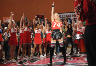 "GLEE: Brittany (Heather Morris, C) leads a flash mob in the ""Asian F"" episode of GLEE airing Tuesday, Oct. 4 (8:00-9:00 PM ET/PT) on FOX. ©2011 Fox Broadcasting Co. Cr: Mike Yarish/FOX"