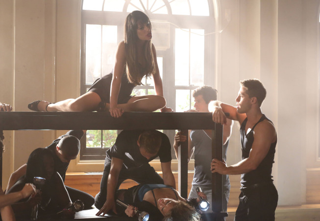 """GLEE: Rachel (Lea Michele, above) and Brody (Dean Geyer, R) perform in the """"Britney 2.0"""" episode of GLEE airing Thursday, Sept. 20 (9:00-10:00 PM ET/PT) on FOX. ©2012 Fox Broadcasting Co. Cr: Mike Yarish/FOX"""