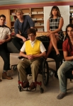 """GLEE: The glee club gets its new song assignment in the """"Britney 2.0"""" episode of GLEE airing Thursday, Sept. 20 (9:00-10:00 PM ET/PT) on FOX. Pict ured L-R: Alex Newell, Darren Chris, Chord Overstreet, Kevin McHale, Jenna Ushkowitz, Samuel Larsen and Melissa Benoist. ©2012 Fox Broadcasting Co. Cr: Adam Rose/FOX"""