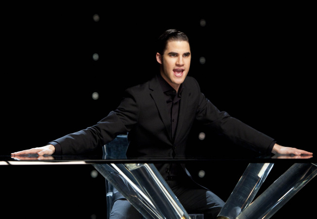 "GLEE: Blaine (Darren Criss) performs in the ""Dance With Somebody"" episode of GLEE airing Tuesday, April 24 (8:00-9:00 PM ET/PT) on FOX. ©2012 Fox Broadcasting Co. Cr: Adam Rose/FOX"