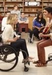 "GLEE: Joe (guest star Samuel Larsen, R) sings to Quinn (Dianna Agron, L) in the ""Dance With Somebody"" episode of GLEE airing Tuesday, April 24 (8:00-9:00 PM ET/PT) on FOX. ©2012 Fox Broadcasting Co. Cr: Beth Dubber/FOX"