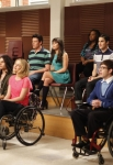 "GLEE: The glee club watches a performance in the ""Dance With Somebody"" episode of GLEE airing Tuesday, April 24 (8:00-9:00 PM ET/PT) on FOX. PIctured L-R front row: Harry Shum Jr., Jenna Ushkowitz, Samuel Larsen, Dianna Agron and Kevin McHale. Back row L-R: Cory Monteith, Lea Michele, Amber Riley, Darren Criss and Naya Rivera. ©2012 Fox Broadcasting Co. Cr: Beth Dubber/FOX"
