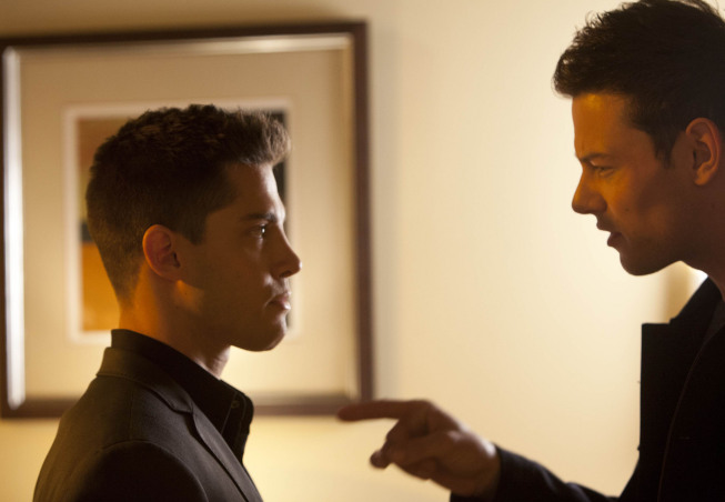 "GLEE: Finn (Cory Monteith, L) confronts Brody (NAME, R) in the ""Feud"" episode of GLEE airing on Thursday, March 14 (9:00-10:00 PM ET/PT) on FOX. ©2013 Fox Broadcasting Co. CR: Adam Rose/FOX"
