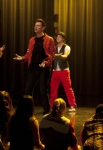 "GLEE: Finn (Cory Monteith, C), Ryder (Blake Jenner, L), Sam (Chord Overstreet, third from L) and Artie (Kevin McHale, R) perform in the ""Feud"" episode of GLEE airing on Thursday, March 14 (9:00-10:00 PM ET/PT) on FOX. ©2013 Fox Broadcasting Co. CR: Adam Rose/FOX"