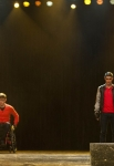 "GLEE: Finn (Cory Monteith, L) and Will (Matthew Morrison, R) perform in the ""Feud"" episode of GLEE  airing on Thursday, March 14  (9:00-10:00 PM ET/PT) on FOX. ©2013 Fox Broadcasting Co. CR: Adam Rose/FOX"