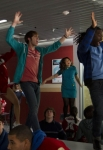 "GLEE: Blake Jenner (red shirt) and Jenna Ushkowitz (blue dress) perform the hit series' 500th musical performance in the ""Girls (And Boys) On Film"" episode of GLEE airing at a special time Thursday, March 7 (9:30-10:30 PM ET/PT) on FOX. ©2013 Fox Broadcasting Co. CR: Adam Rose/FOX"