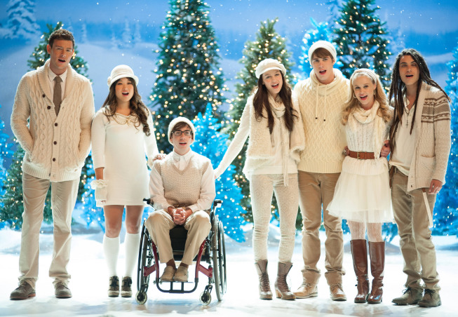 "GLEE: L-R: Finn (Cory Monteith), Tina (Jenna Ushkowitz), Artie (Kevin McHale), Marley (Melissa Benoist), Ryder (Blake Jenner), Kitty (Becca Tobin) and Joe (Samuel Larsen) perform in the ""Glee, Actually"" episode of GLEE airing Thursday, Dec. 13 (9:00-10:00 PM ET/PT) on FOX. ©2012 Fox Broadcasting Co. CR: Eddy Chen/FOX"