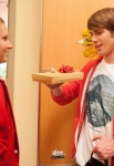 "GLEE: Brittany (Heather Morris, L) passes out gifts in the ""Glee, Actually"" episode of GLEE airing Thursday, Dec. 13 (9:00-10:00 PM ET/PT) on FOX. Also Pictured: Blake Jenner. ©2012 Fox Broadcasting Co. CR: Eddy Chen/FOX"