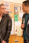 "GLEE: Puck (Mark Salling, L) and Jake (Jacob Artist, R) have a brotherly conversation in the ""Glee, Actually"" episode of GLEE airing Thursday, Dec. 13 (9:00-10:00 PM ET/PT) on FOX. ©2012 Fox Broadcasting Co. CR: Eddy Chen/FOX"