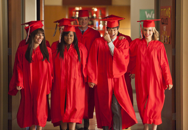 """GLEE: The Seniors from McKinley High graduate in the """"Goodbye"""" season finale episode of GLEE airing Tuesday, May 22 (9:00- 10:00 PM ET/PT) on FOX. Pictured L-R: Lea Michele, Amber Riley, Cory Monteith, Harry Shum Jr. and Dianna Agron. ©2012 Fox Broadcasting Co. CR: Adam Rose/FOX"""
