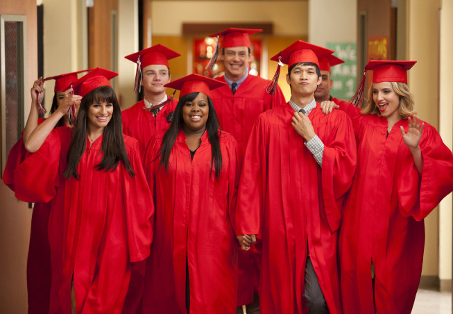"GLEE: The Seniors from McKinley High graduate in the ""Goodbye"" season finale episode of GLEE airing Tuesday, May 22 (9:00- 10:00 PM ET/PT) on FOX. Pictured L-R: Naya Rivera, Lea Michele, Chris Colfer, Amber Riley, Cory Monteith, Harry Shum Jr., Mark Salling and Dianna Agron.  ©2012 Fox Broadcasting Co. CR: Adam Rose/FOX"