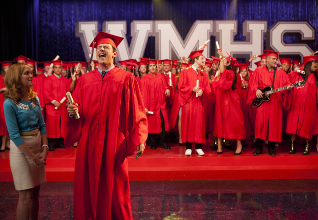 "GLEE: Finn (Cory Monteith, R) accepts his graduation diploma from Emma (Jayma Mays, L) in the ""Goodbye"" season finale episode of GLEE airing Tuesday, May 22 (9:00- 10:00 PM ET/PT) on FOX. Pictured L-R: Lea Michele, Amber Riley, Cory Monteith, Harry Shum Jr. and Dianna Agron.  ©2012 Fox Broadcasting Co. CR: Adam Rose/FOX"