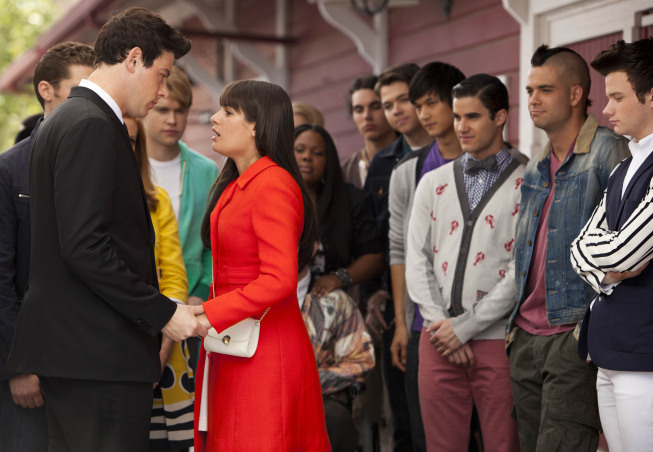 "GLEE: Finn (Cory Monteith, L) and the glee club send Rachel (Lea Michele, C) off to New York in the in the ""Goodbye"" season finale episode of GLEE airing Tuesday, May 22 (9:00- 10:00 PM ET/PT) on FOX. Also pictured L-R: Chord Overstreet, Amber Riley, Samuel Larsen, Damian McGuinty, Harry Shum Jr., Darren Criss, Mark Salling and Chris Colfer. ©2012 Fox Broadcasting Co. CR: Adam Rose/FOX"