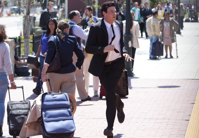 """GLEE: Finn (Cory Monteith) follows Rachel's train as she heads to New York in the """"Goodbye"""" season finale episode of GLEE airing Tuesday, May 22 (9:00- 10:00 PM ET/PT) on FOX. ©2012 Fox Broadcasting Co. CR: Adam Rose/FOX"""