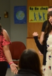 "GLEE: Mercedes (Amber Riley, L) and Rachel (Lea Michele, R) perform for their under classmates in the ""Goodbye"" season finale episode of GLEE airing Tuesday, May 22 (9:00- 10:00 PM ET/PT) on FOX. ©2012 Fox Broadcasting Co. CR: Mike Yarish/FOX"