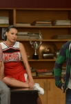 """GLEE: Mike (Harry Shum Jr.), Santana (Naya Rivera, C) and Finn (Cory Monteith, R) perform for their under classmates in the """"Goodbye"""" season finale episode of GLEE airing Tuesday, May 22 (9:00- 10:00 PM ET/PT) on FOX. ©2012 Fox Broadcasting Co. CR: Mike Yarish/FOX"""