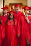 """GLEE: The Seniors from McKinley High graduate in the """"Goodbye"""" season finale episode of GLEE airing Tuesday, May 22 (9:00- 10:00 PM ET/PT) on FOX. Pictured L-R: Naya Rivera, Lea Michele, Chris Colfer, Amber Riley, Cory Monteith, Harry Shum Jr., Mark Salling and Dianna Agron. ©2012 Fox Broadcasting Co. CR: Adam Rose/FOX"""