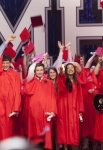 """GLEE: The Seniors from McKinley High graduate in the """"Goodbye"""" season finale episode of GLEE airing Tuesday, May 22 (9:00- 10:00 PM ET/PT) on FOX. Pictured L-R: Lea Michele, Cory Monteith, Chris Colfer, Naya Rivera, Mark Salling and Amber Riley. ©2012 Fox Broadcasting Co. CR: Adam Rose/FOX"""