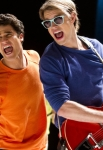 "GLEE: Blaine (Darren Criss, L) and Sam (Chord Overstreet, R) perform in the ""Guilty Pleasure"" episode of GLEE airing Thursday, March 21 (9:00-10:00 PM ET/PT) on FOX. ©2013 Fox Broadcasting Co. Cr: Adam Rose/FOX"