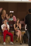 "GLEE: Members of the glee club watch Jake (Jacob Artist (back toward camera) perform in the ""Guilty Pleasures"" episode of GLEE airing Thursday, March 21 (9:00-10:00 PM ET/PT) on FOX. ©2013 Fox Broadcasting Co. Pictured L-R: Blake Jenner, Heather Morris, Becca Tobin, Darren Criss, Alex Newell, Melissa Benoist, Kevin McHale and Jenna Ushkowitz. CR: Jennifer Clasen/FOX"