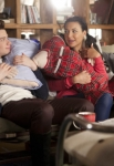 "GLEE: Kurt (Chris Colfer, L) and Santana (Naya Rivera, R) hang out in the ""Guilty Pleasures"" episode of GLEE airing Thursday, March 21 (9:00-10:00 PM ET/PT) on FOX. ©2013 Fox Broadcasting Co. CR: Adam Rose/FOX"