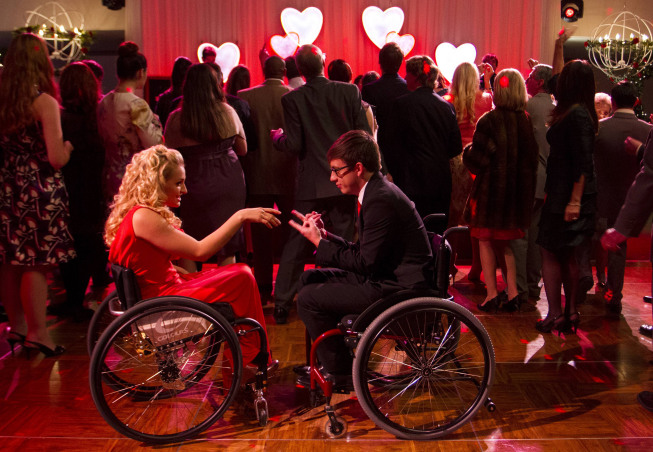 "GLEE: Artie (Kevin McHale, R) dances with Emma's niece Betty (guest star Ali Stroker, L) in the ""I Do"" episode of GLEE airing Thursday, Feb. 14 (9:00-10:00 PM ET/PT) on FOX. ©2013 Fox Broadcasting Co. CR: Adam Rose/FOX"