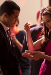 "GLEE: Jake (Jacob Artist, L) gives Marley (Melissa Benoist, R) a Valentine's gift in the ""I Do"" episode of GLEE airing Thursday, Feb. 14 (9:00-10:00 PM ET/PT) on FOX. ©2013 Fox Broadcasting Co. CR: Adam Rose/FOX"