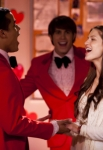 "GLEE: Jake (Jacob Artist, L) and Ryder (Blake Jenner, C) perform for Marley (Melissa Benoist, R) in the ""I Do"" episode of GLEE airing Thursday, Feb. 14 (9:00-10:00 PM ET/PT) on FOX. ©2013 Fox Broadcasting Co. CR: Adam Rose/FOX"
