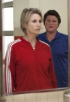 "GLEE: Coach Beiste (Dot-Marie Jones, R) confronts Sue (Jane Lynch, L) in the ""I Kissed a Girl"" episode of GLEE airing Tuesday, Nov. 29 (8:00-9:00 PM ET/PT) on FOX. ©2011 Fox Broadcasting Co. Cr: Adam Rose/FOX"