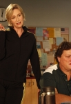"GLEE: Sue (Jane Lynch, L) messes with Coach Beiste (Dot-Marie Jones, R) in the ""I Kissed a Girl"" episode of GLEE airing Tuesday, Nov. 29 (8:00-9:00 PM ET/PT) on FOX. ©2011 Fox Broadcasting Co. Cr: Adam Rose/FOX"