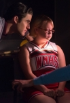 """GLEE: Blaine (Darren Criss, L) and Sam (Chord Overstreet, R) question Becky (Lauren Potter, C) in the """"Lights Out"""" episode of GLEE airing Thursday, April 25 (9:00-10:00 PM ET/PT) on FOX. ©2013 Fox Broadcasting Co. CR: Eddy Chen/FOX"""