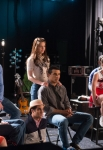 """GLEE: The Glee club get their next assignment in the """"Lights Out"""" episode of GLEE airing Thursday, April 25 (9:00-10:00 PM ET/PT) on FOX. Pictured L-R: Jenna Ushkowitz, Kevin McHale, Chord Overstreet, Darren Criss, Melissa Benoist, Jacob Artist, Alex Newell (not shown), Becca Tobin and Blake Jenner. ©2013 Fox Broadcasting Co. CR: Eddy Chen/FOX"""