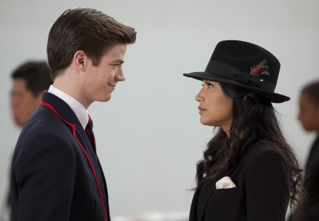 "GLEE: Sebastian (guest star Grant Gustin, L) and Santana (Naya Rivera, R) perform in the ""Michael"" episode of GLEE airing Tuesday, Jan. 31 (8:00-9:00 PM ET/PT) on FOX. ©2012 Fox Broadcasting Co. CR: Adam Rose/FOX"