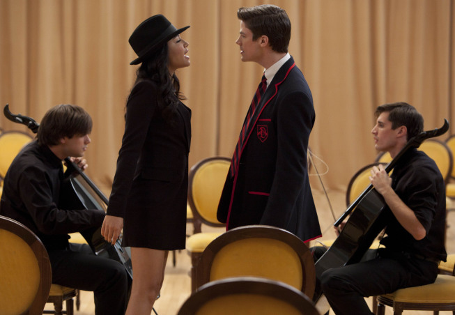 "GLEE: Santana (Naya Rivera, second from L) and Sebastian (guest star Grant Gustin, third from L)  perform with 2Cellos (Sulic, L and Hauser, R) in the ""Michael"" episode of GLEE airing Tuesday, Jan. 31 (8:00-9:00 PM ET/PT) on FOX. ©2012 Fox Broadcasting Co. CR: Adam Rose/FOX"