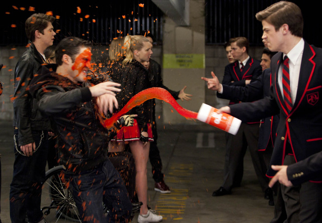 "GLEE: Sebastian (guest star Grant Gustin, R) slushies Blaine (Darren Criss, L) in the ""Michael"" episode of GLEE airing Tuesday, Jan. 31 (8:00-9:00 PM ET/PT) on FOX. ©2012 Fox Broadcasting Co. CR: Adam Rose/FOX"
