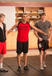 "GLEE: The glee club puts together a calendar photo shoot to raise money for Regionals in the ""Naked"" episode of GLEE airing Thursday, Jan. 31 (9:00-10:00 PM ET/PT) on FOX. Pictured L-R:  Samuel Larsen, Chord Overstreet, Jacob Artist, Blake Jenner and Darren Criss. ©2013 Fox Broadcasting Co. CR: Eddy Chen/FOX"