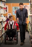 "GLEE: Artie (Kevin McHale, L) and Finn (Cory Monteith, R) chat in the library in the ""Naked"" episode of GLEE airing Thursday, Jan. 31 (9:00-10:00 PM ET/PT) on FOX. ©2013 Fox Broadcasting Co. CR: Eddy Chen/FOX"