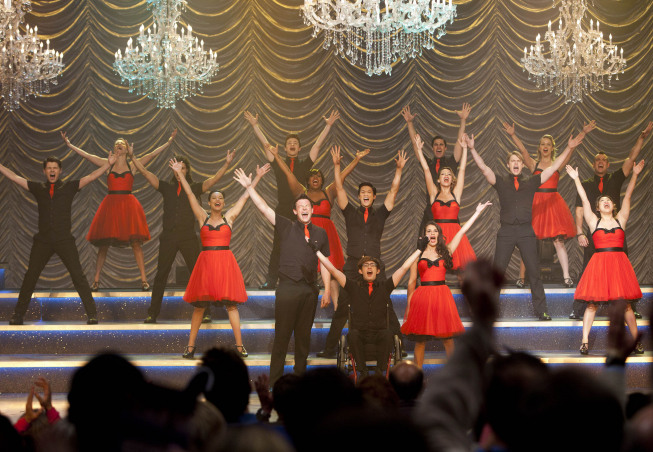 "GLEE: The Glee club performs at Nationials in the second hour of a special two-hour ""Props/Nationals"" episode of GLEE airing Tuesday, May 15 (8:00-10:00 PM ET/PT) on FOX. ©2012 Fox Broadcasting Co. Cr: Adam Rose/FOX"