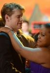 "GLEE: Sam (Chord Overstreet, L) and Mercedes (Amber Riley, R) share a dance in the ""Prom-asaurus"" episode of GLEE airing Tuesday, May 8 (8:00-9:00 PM ET/PT) on FOX. ©2012 Fox Broadcasting Co. Cr: Mike Yarish/FOX"